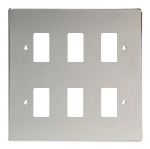 Varilight XDCPG6 PowerGrid Polished Chrome 6 Gang Grid Plate (Double Twin Plate)